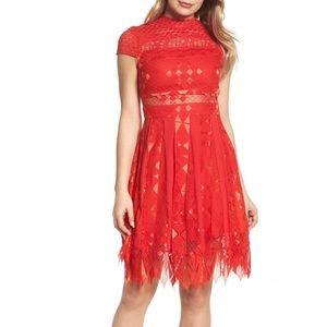 Foxiedox Red Bravo Zulu Lace Fit & Flare Dress